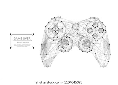 Abstract mash line and point image of joystick for video games. Vector business illustration origami on white background with an inscription. Computer games concept. Polygonal art.