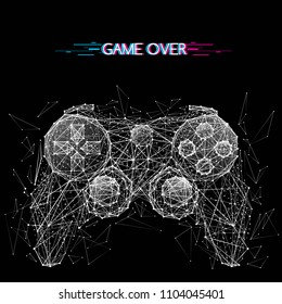 Abstract mash line and point image of joystick for video games. Vector illustration origami on black background with an inscription. Computer games concept with distruction effect. Polygonal art.