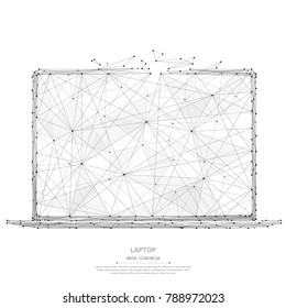 Abstract mash line and point laptop origami on white background with an inscription. Starry sky or space, consisting of stars and the universe. Vector technology illustration