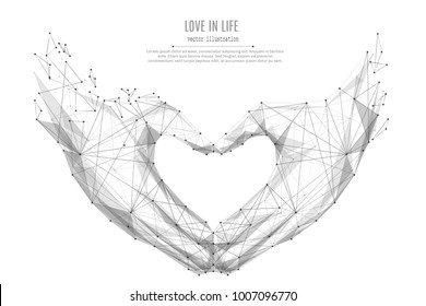 Abstract mash line and point Love shape hands origami on white background with an inscription. Starry sky or space, consisting of stars and the universe. Vector love gesture illustration