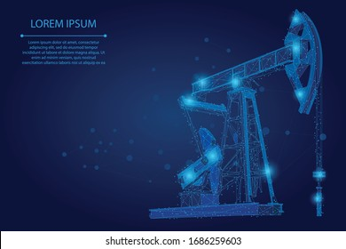 Abstract mash line and point low poly Oil pipeline. Petrol production. Petroleum fuel industry transportation vector polygonal illustration