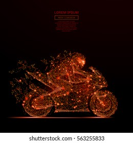 Abstract mash line and point motorcycle racing in flames style on dark background with an inscription. Starry sky or space, consisting of stars and the universe Vector illustration