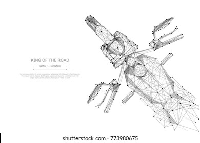Abstract mash line and point motorcycle origami on white background with an inscription. Starry sky or space, consisting of stars and the universe. Vector motorbike illustration