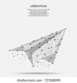 Abstract mash line and point origami plane. Vector business illustration. Polygonal low poly aircraft. Hided potential, motivation, business goal and personal growth concept.