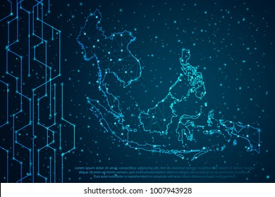 Abstract mash line and point scales on Circuit dark background with map of Southeast Asia. Wire frame 3D mesh polygonal network line, design sphere, dot and structure. Vector illustration eps 10.