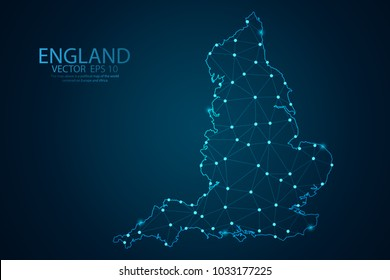 Abstract mash line and point scales on Dark background with map of England. Wire frame 3D mesh polygonal network line, design polygon sphere, dot and structure. Vector illustration eps 10.