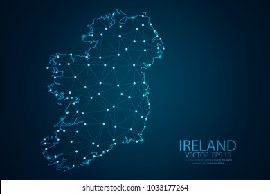 Abstract mash line and point scales on Dark background with map of Ireland. Wire frame 3D mesh polygonal network line, design polygon sphere, dot and structure. Vector illustration eps 10.