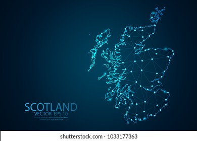 Abstract mash line and point scales on Dark background with map of Scotland. Wire frame 3D mesh polygonal network line, design polygon sphere, dot and structure. Vector illustration eps 10.