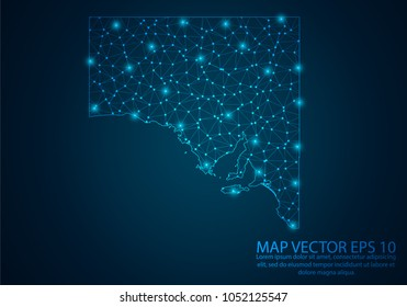 Abstract mash line and point scales on dark background with map of South Australia.3D mesh polygonal network line, design sphere, dot and structure. Vector illustration eps 10.