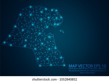 Abstract mash line and point scales on dark background with map of Kuwait.3D mesh polygonal network line, design sphere, dot and structure. Vector illustration eps 10.