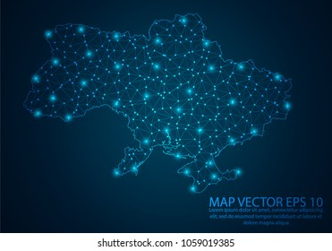 Abstract mash line and point scales on dark background with map of Ukraine.3D mesh polygonal network line, design sphere, dot and structure. Vector illustration eps 10.