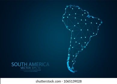 Abstract mash line and point scales on Dark background with map of South America . Wire frame 3D mesh polygonal network line, design polygon sphere, dot and structure. Vector illustration eps 10.