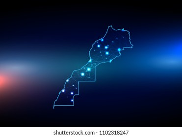 Abstract mash line and point scales on dark background with map of morocco. 3D mesh polygonal network line, design sphere, dot and structure. Vector map of morocco with glowing points.