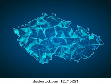 Abstract mash line and point scales on dark background with map of czech Republic. Abstract network vector concept of czech Republic. Internet and connection map background. Triangle, dot ,line Vector
