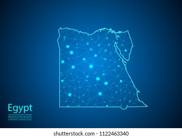 Abstract mash line and point scales on dark background with map of egypt. Best Internet Concept of egypt business from concepts series. Wire frame 3D mesh polygonal network line and dots.