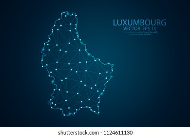 Abstract mash line and point scales on Dark background with map of Luxembourg. Wire frame 3D mesh polygonal network line, design polygon sphere, dot and structure. Vector illustration eps 10.