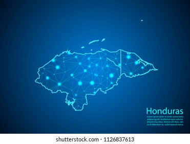 Abstract mash line and point scales on dark background with map of honduras. Best Internet Concept of honduras business from concepts series. Wire frame 3D mesh polygonal network line and dots.