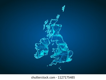 Abstract mash line and point scales on dark background with map of united Kingdom. Abstract network vector concept of UK. Internet and connection map background. Triangle, dot ,line Vector.