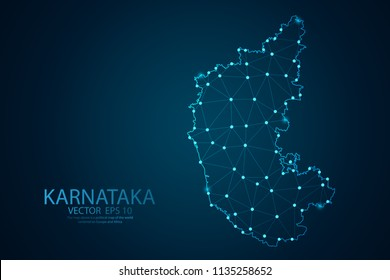 Abstract mash line and point scales on Dark background with map of Karnataka. Wire frame 3D mesh polygonal network line, design polygon sphere, dot and structure. Vector illustration eps 10.