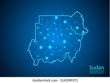 Abstract mash line and point scales on dark background with map of sudan. Best Internet Concept of sudan business from concepts series. Wire frame 3D mesh polygonal network line and dots.