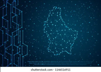 Abstract mash line and point scales on Circuit dark background with map of Luxembourg. Wire frame mesh polygonal network line, design sphere, dot and structure. Vector illustration eps 10.