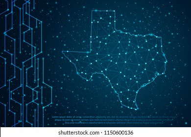 Abstract mash line and point scales on Circuit dark background with map of Texas. Wire frame mesh polygonal network line, design sphere, dot and structure. Vector illustration eps 10.
