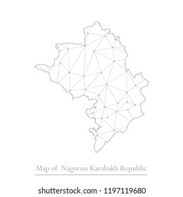 Abstract Mash Line and Point Scales on White Background With Map of Nagorno Karabakh Republic. 3D Mesh Polygonal Network Connections.Vector illustration eps10.