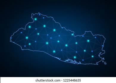 Abstract mash line and point scales on dark background with Map of El Salvador. dot and structure. communications map of El Salvador. Vector.