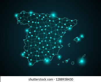 Abstract mash line and point scales on dark background with Map of spain. Wire frame 3D mesh polygonal network line, design sphere, dot and structure. communications map of spain. Vector. - Vector