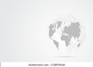 Abstract mash line and point scales on white background with Global. Wire frame 3D mesh polygonal network line, design sphere, dot and structure. Vector illustration eps 10.