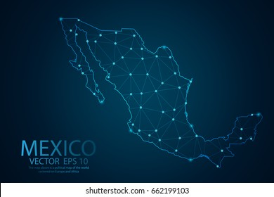 Abstract mash line and point scales On dark background with map of Mexico. Wire frame 3D mesh polygonal network line, design sphere, dot and structure. Vector illustration eps 10.