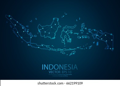 Abstract mash line and point scales on dark background with map of Indonesia. Wire frame 3D mesh polygonal network line, design sphere, map dot and structure. Vector illustration eps 10.