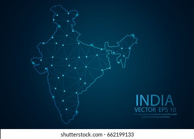 Abstract mash line and point scales on dark background with map of India. Wire frame 3D mesh polygonal network line, design sphere, dot and structure. Vector illustration eps 10.