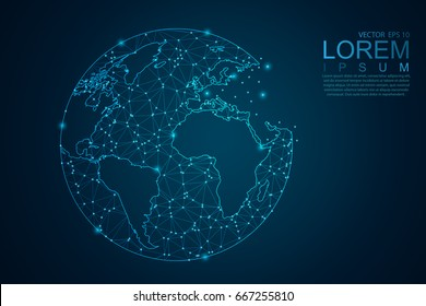 Abstract mash line and point scales on dark background with Map World representing the global . Wire frame 3D mesh polygonal network line, design sphere, dot and structure. Vector illustration eps 10.