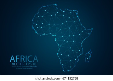 Abstract mash line and point scales on dark background with map of Africa. Wire frame 3D mesh polygonal network line, design sphere, dot and structure. Vector illustration eps 10.