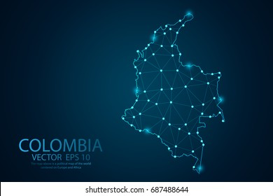 Abstract mash line and point scales on dark background with map of Colombia. Wire frame 3D mesh polygonal network line, design sphere, dot and structure. Vector illustration eps 10.