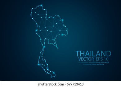 Abstract mash line and point scales on dark background with map of Thailand. Wire frame 3D mesh polygonal network line, design sphere, Dot and shape. Vector illustration eps 10.