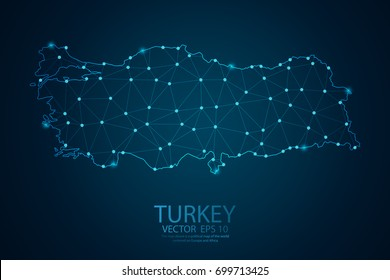 Abstract mash line and point scales on Dark background with map of Turkey. Wire frame 3D mesh polygonal network line, design polygon sphere, dot and structure. Vector illustration eps 10.