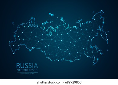 Abstract mash line and point scales on dark background with Map of Russia. Wire frame 3D mesh polygonal network line, polygon design sphere, dot and structure. Vector illustration eps 10.