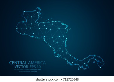 Abstract mash line and point scales on dark background with map of Central america. Wire frame 3D mesh polygonal network line, design sphere, dot and structure. Vector illustration eps 10.