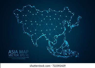 Abstract mash line and point scales on dark background with map of Asia. Wire frame 3D mesh polygonal network line, design sphere, dot and structure. Vector illustration eps 10.