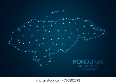 Abstract mash line and point scales on dark background with map of Honduras. Wire frame 3D mesh polygonal network line, design sphere, dot and structure. Vector illustration eps 10.