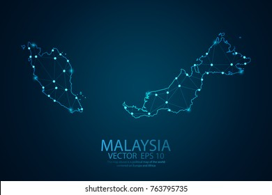 Abstract mash line and point scales on dark background with map of Malaysia. Wire frame 3D mesh polygonal Network line, design sphere, dot and structure. Vector illustration eps 10