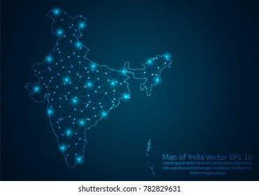 Abstract mash line and point scales on dark background with map of India.3D mesh polygonal network line, design sphere, dot and structure. Vector illustration eps 10.