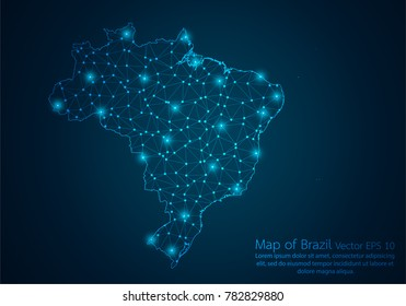 Abstract mash line and point scales on dark background with map of Brazil.3D mesh polygonal network line, design sphere, dot and structure. Vector illustration eps 10.