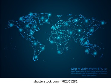 Abstract mash line and point scales on dark background with map of world. 3D mesh polygonal network line, design sphere, dot and structure. Vector illustration eps 10.