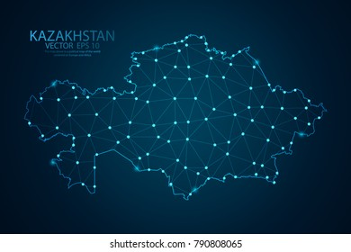 Abstract mash line and point scales on dark background with map of Kazakhstan. Wire frame 3D mesh polygonal network line, design sphere, dot and structure. Vector illustration eps 10.