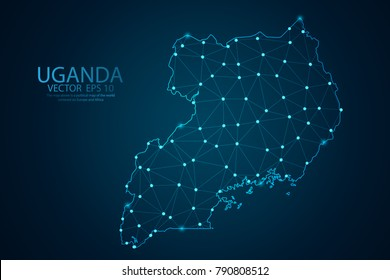 Abstract mash line and point scales on dark background with map of Uganda. Wire frame 3D mesh polygonal network line, design sphere, dot and structure. Vector illustration eps 10.