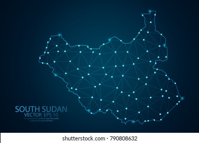 Abstract mash line and point scales on dark background with map of South Sudan. Wire frame 3D mesh polygonal network line, design sphere, dot and structure. Vector illustration eps 10.