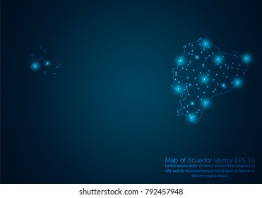 Abstract mash line and point scales on dark background with map of Ecuador.3D mesh polygonal network line, design sphere, dot and structure. Vector illustration eps 10.